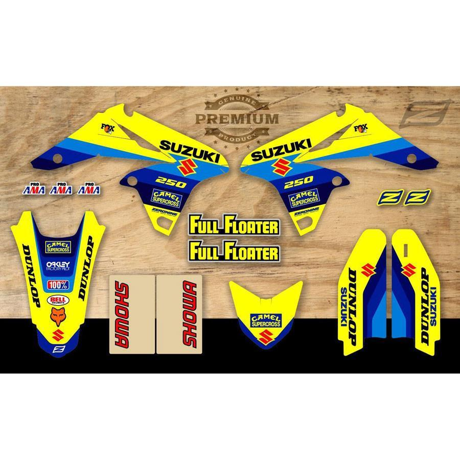 Motocross Graphics RMZ250 07-09 Zeronine Suzuki SPLIT Graphics Kit - Bomber Replica