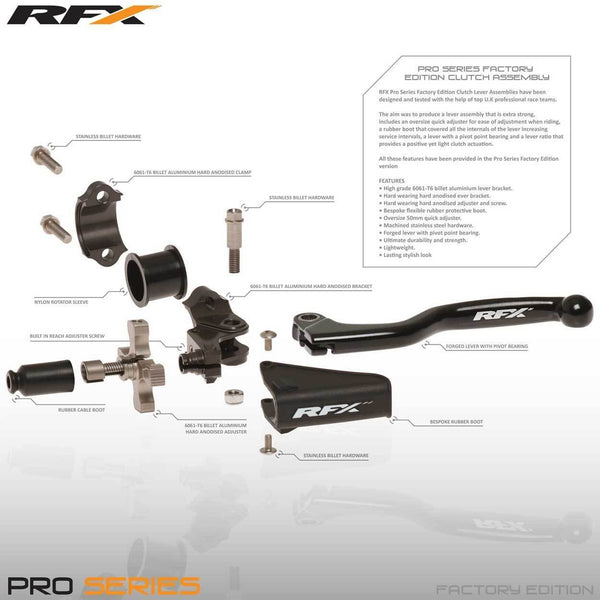 Motocross Lever Assemblies Spares RFX Pro Clutch Lever Assembly Replacement (Hard Anodised) Quick Adjuster & Screw