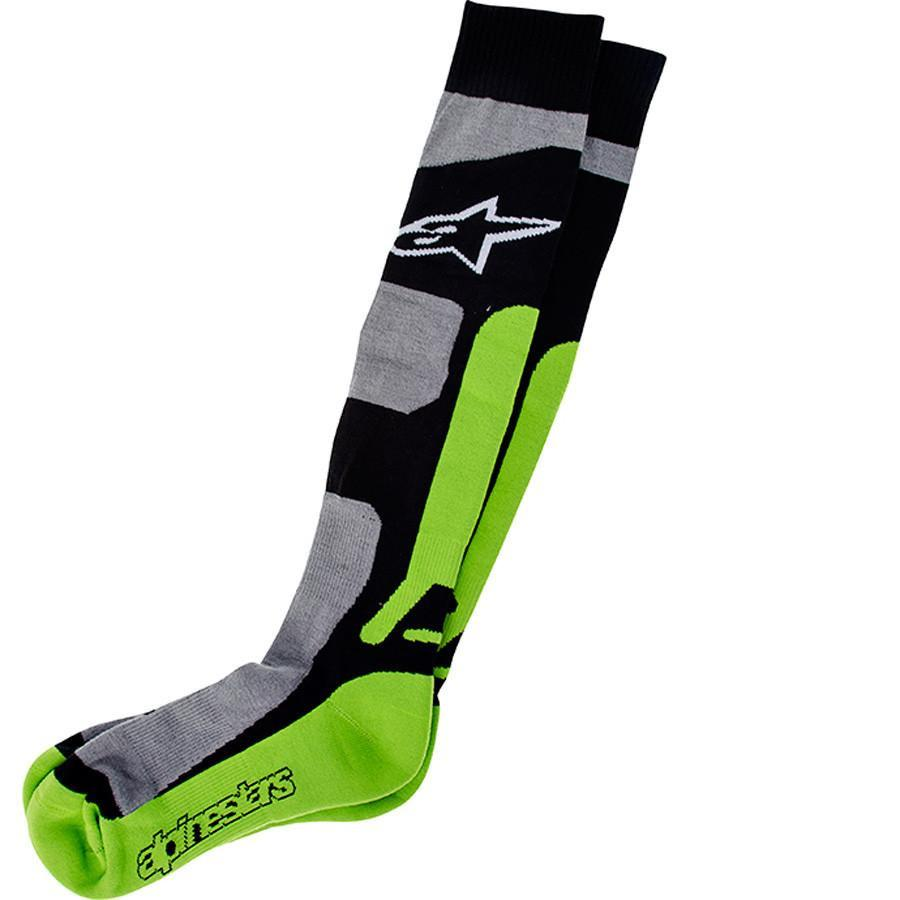 Motocross Socks S/M Alpinestars Tech Coolmax Socks - Grey Black Green