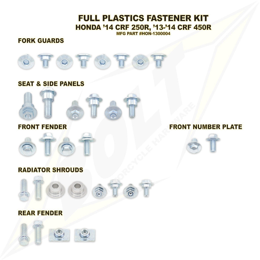 Plastic Kit Body Bolt Kits Bolt Hardware Honda Full Plastic Fastener Kit CRF250R 2014-15