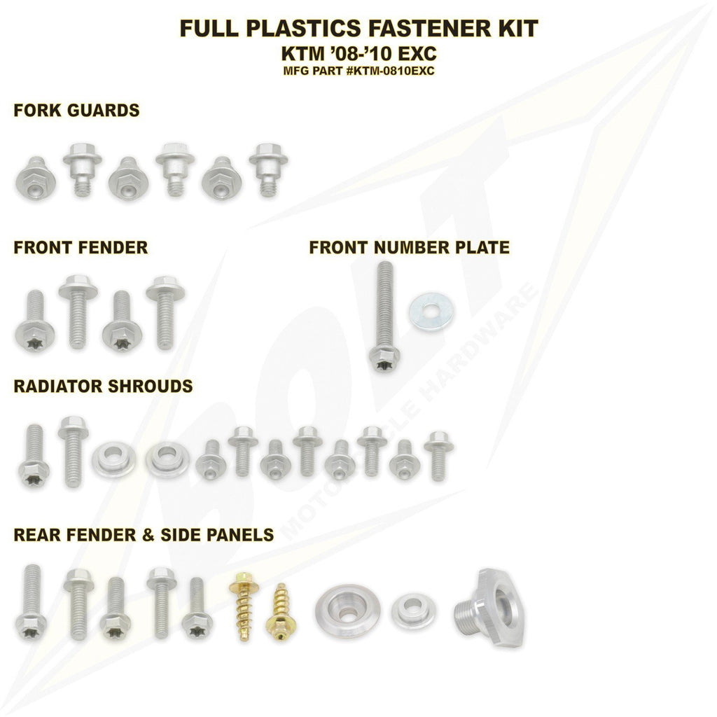 Plastic Kit Body Bolt Kits Bolt Hardware KTM Full Plastic Fastener Kit KTM EXC 08-11