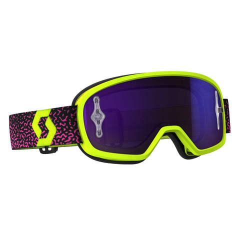scott motocross goggles Scott Buzz Pro YOUTH Motocross Goggles - Yellow Purple  - Purple Chrome Lens