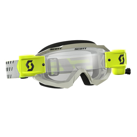 scott motocross goggles Scott Hustle Motocross Goggles - Works Roll-Off System - Grey Yellow