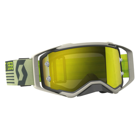 scott motocross goggles Scott Prospect Motocross Goggles - Grey Beige Yellow Chrome