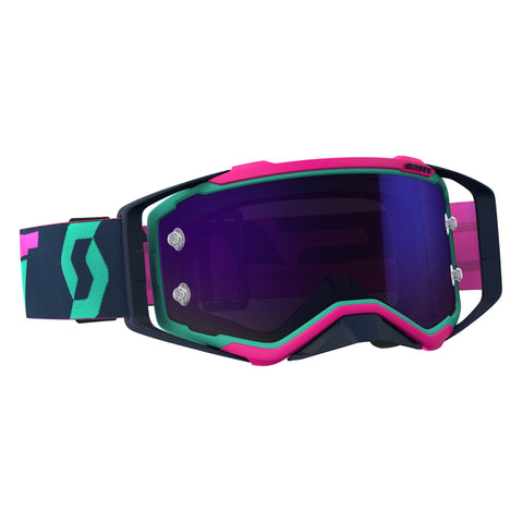 scott motocross goggles Scott Prospect Motocross Goggles - Teal Pink Blue Chrome
