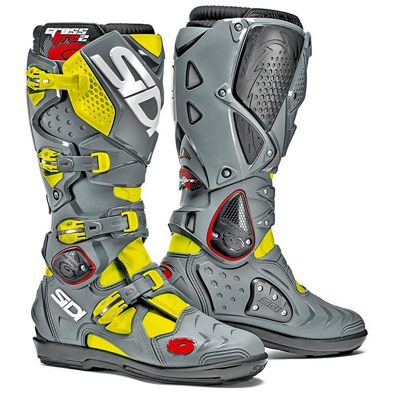 2018 sidi crossfire 3 srs mx motocross boots flou yellow grey ash dirtbikebitz. Black Bedroom Furniture Sets. Home Design Ideas