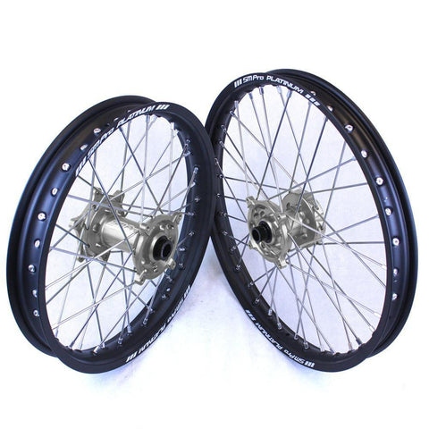 SM Pro Motocross Wheels 125SX 03-Current / GLOSS / SILVER (Standard) SM Pro Platinum Motocross Wheel Set - KTM Silver Black Silver