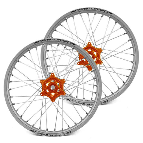 SM Pro Motocross Wheels 125XC (Enduro) / GLOSS / SILVER (Standard) SM Pro Platinum KTM Enduro Wheel Set - Orange Silver Silver