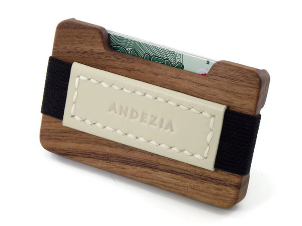 American Walnut Credit Card Wallet with Hand Stitched Leather Strap