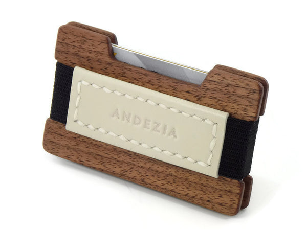 American Walnut Minimalist Wallet with Hand Stitched Leather Strap