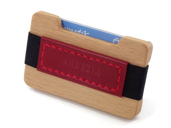 Beech Credit Card Wallet with Hand Stitched Leather Strap