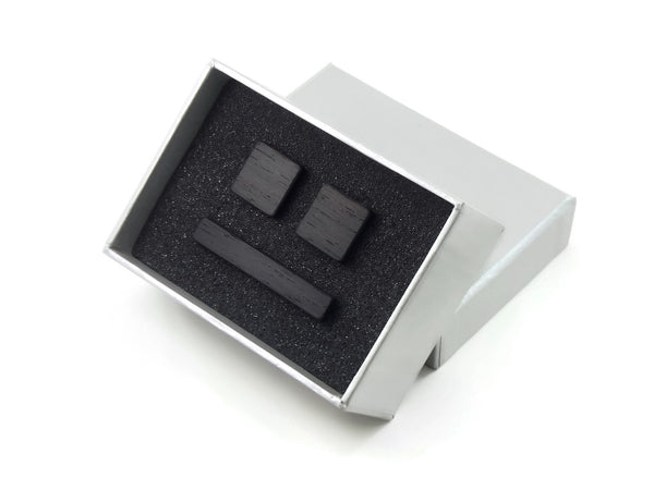 Wenge Gift Set with Cufflinks and Tie Bar