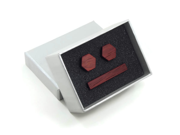 Padauk Gift Set with Cufflinks and Tie Bar