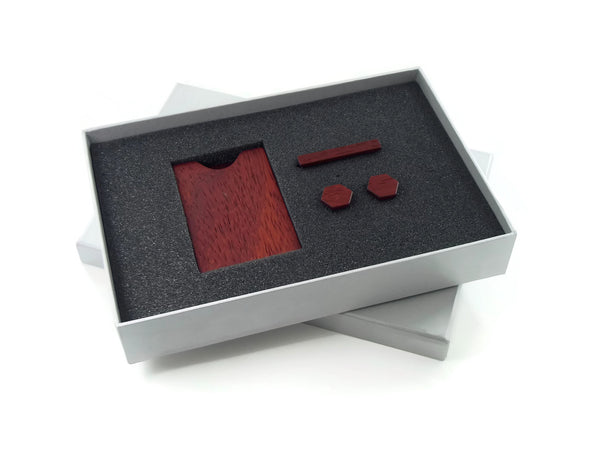 Padauk Gift Set with Card Case, Cufflinks and Tie Bar