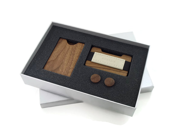 American Walnut Gift Set with Card Case, Cufflinks and Wallet