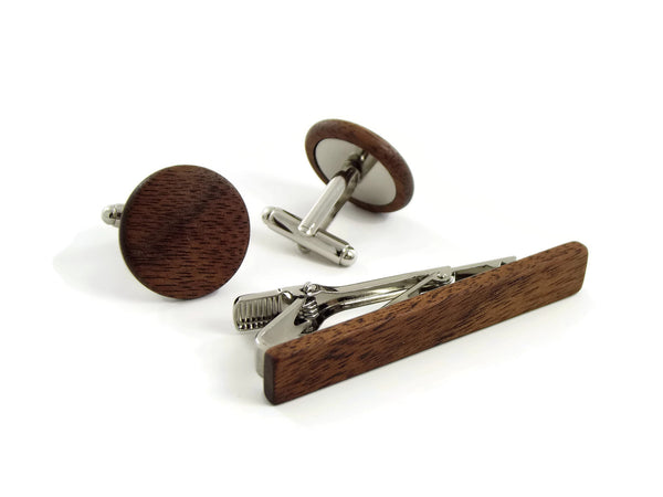 American Walnut Gift Set with Cufflinks and Tie Bar