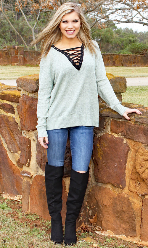 ALL LACED UP SWEATER - Annalee Rose Boutique