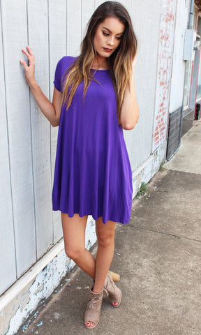 BASICALLY PERFECT TSHIRT DRESS (GRAPE)