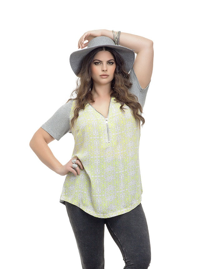 YELLOW ZIPPER TOP - Annalee Rose Boutique