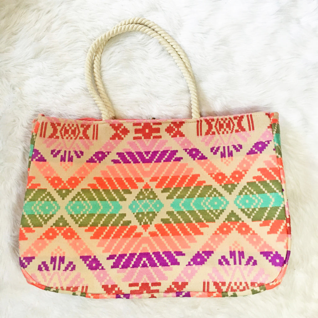 Judith March Multicolored Enlarged Aztec Print Tote Bag - Annalee Rose Boutique