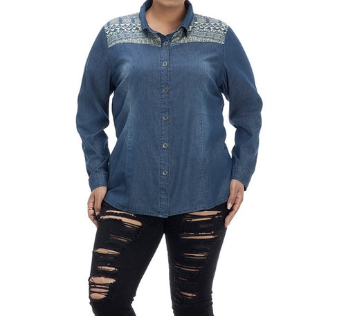 AZTEC DENIM TOP - Annalee Rose Boutique
