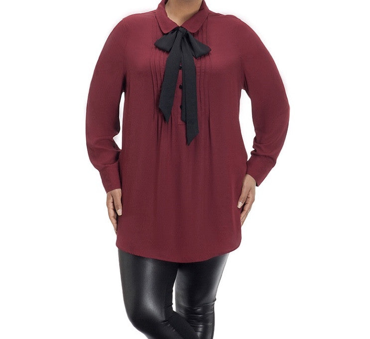 BURGUNDY (REMOVABLE) TIE NECK TOP (PLUS) - Annalee Rose Boutique