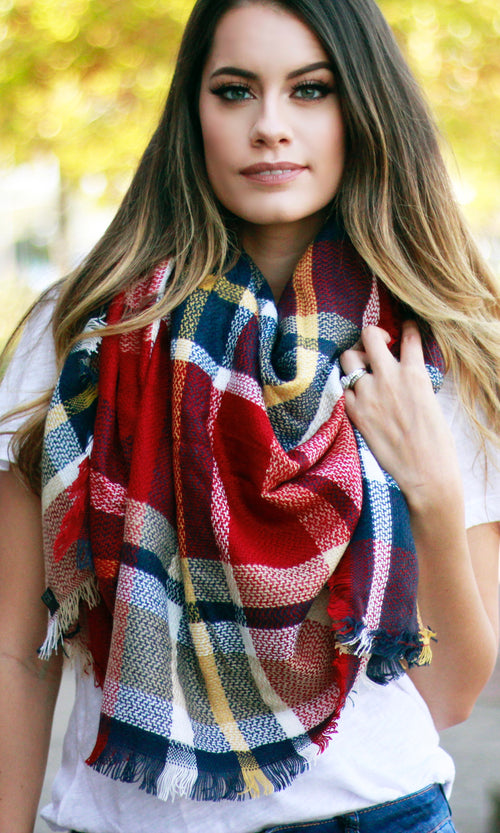 BLANKET SCARF (RED MIX)