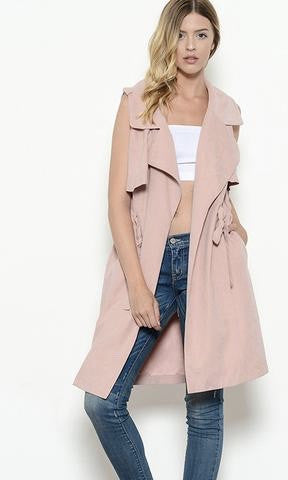 DUSTY ROSE TRENCH VEST - Annalee Rose Boutique