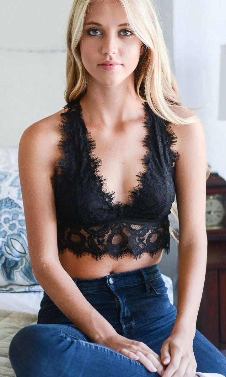 EYELASH LACE BRALETTE (BLACK)