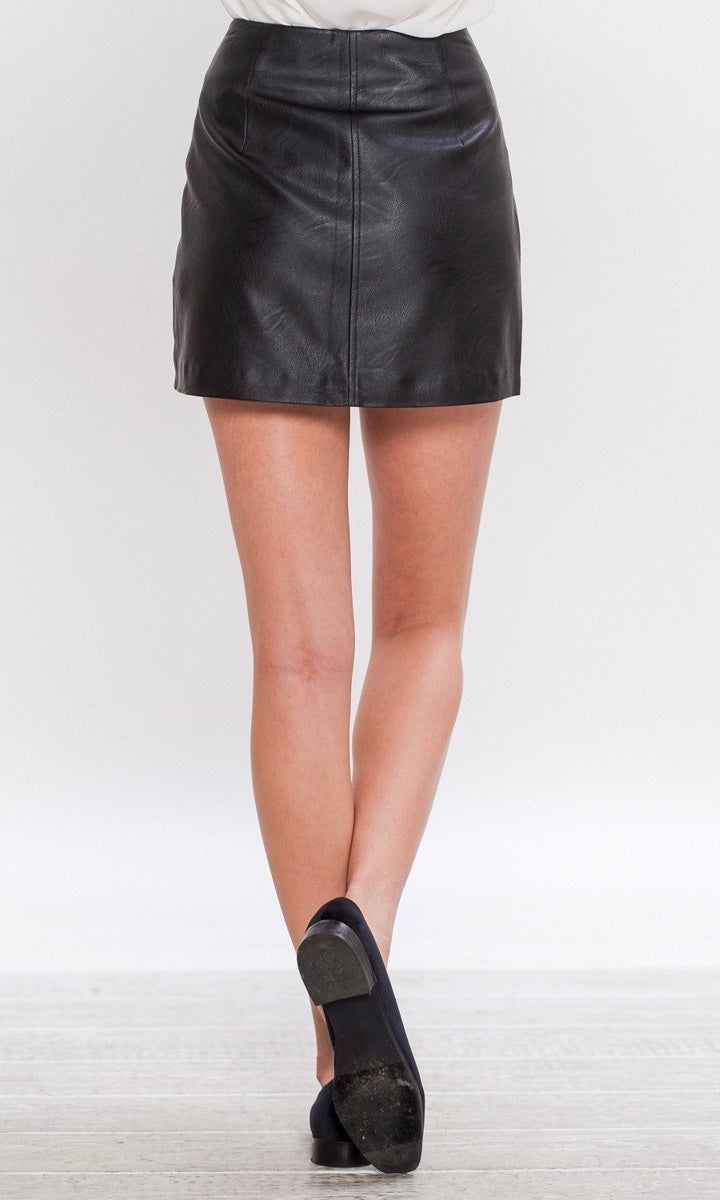 BED OF ROSES LEATHER SKIRT