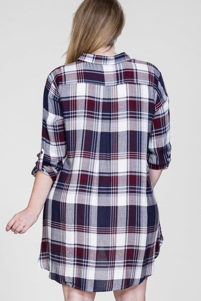 PLAID LACE UP TUNIC/DRESS - Annalee Rose Boutique