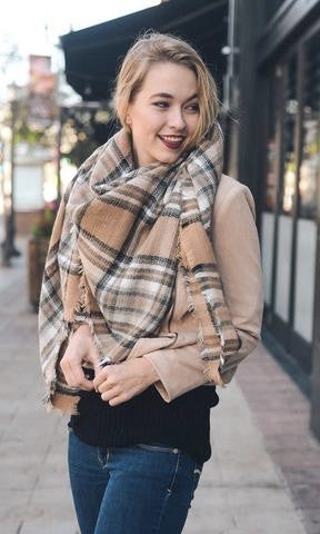 BLANKET SCARF (CAMEL MIX) - Annalee Rose Boutique