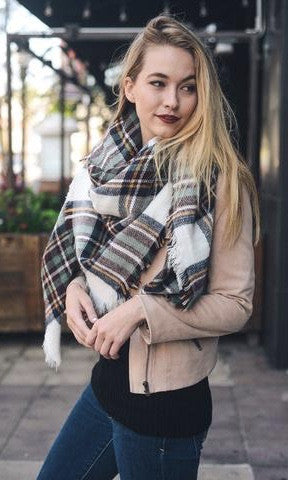 BLANKET SCARF (BURGUNDY MIX) - Annalee Rose Boutique