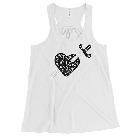 Heart, Crosses and Sword Flowy Tank