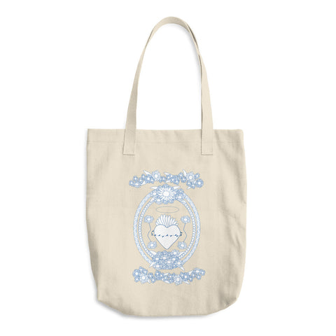 Daisy Blue and White Tote Bag