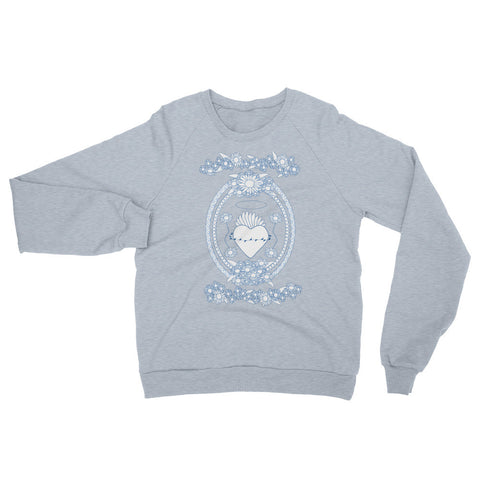 Daisy Blue and White Sacred Heart Sweater