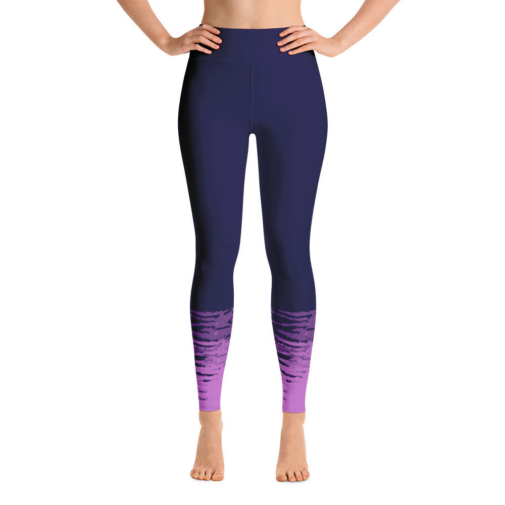 Navy and Pink Tie Dye Yoga Leggings - Azzurra Soul