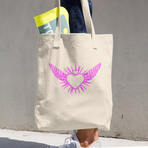 Flying Heart Pink Tote Bag - Azzurra Soul