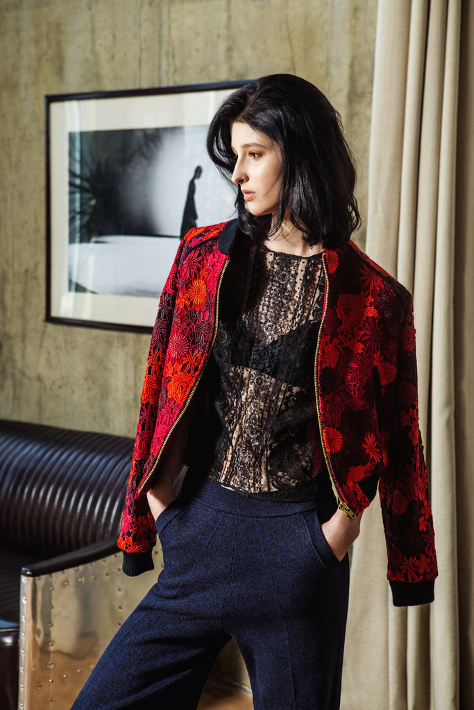SONIA H red lace bomber jacket and panelled lace top