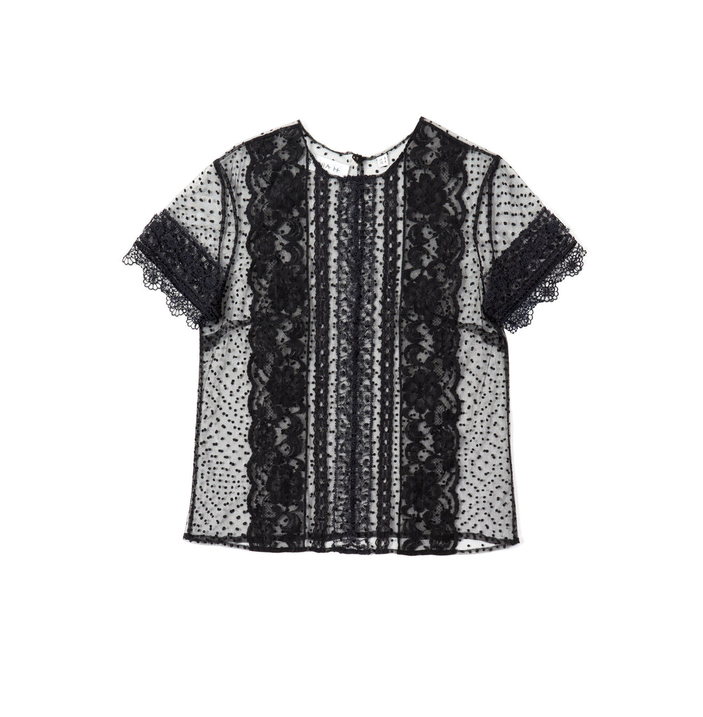 SONIA H panelled lace top