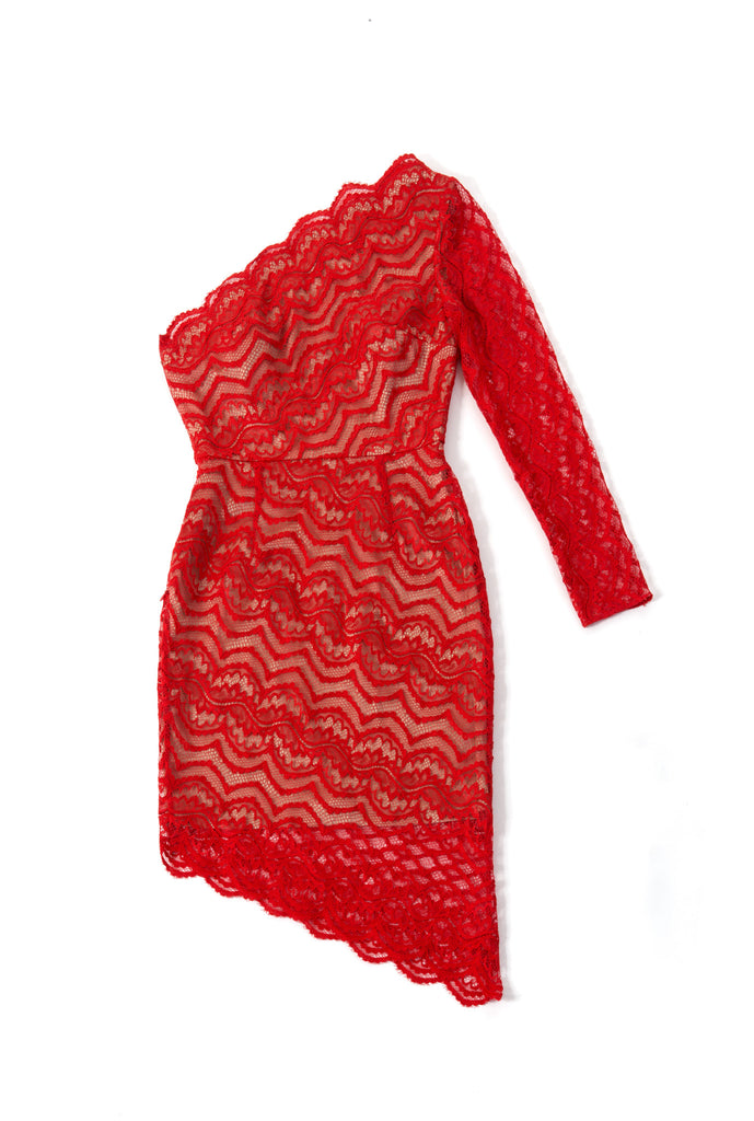 Bias Lace Single Shoulder Dress - red