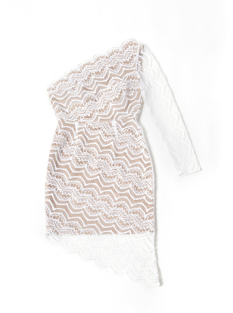 Bias Lace Single Shoulder Dress - white