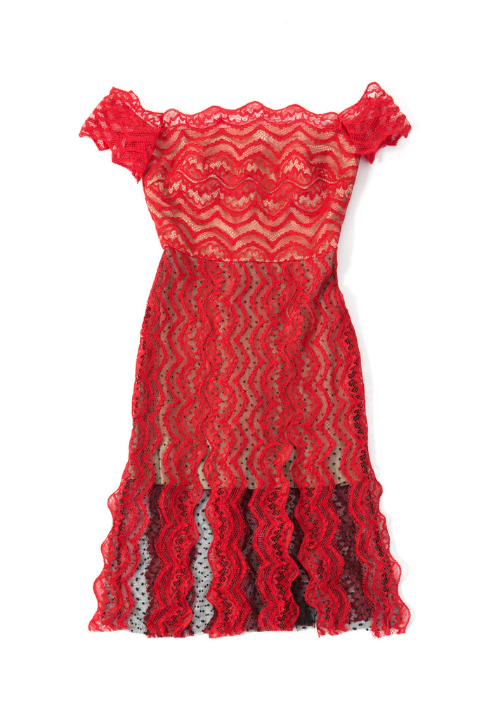 Off Shoulder Fringe Lace Dress - red