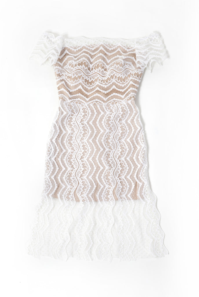 Off Shoulder Fringe Lace Statement Dress - white