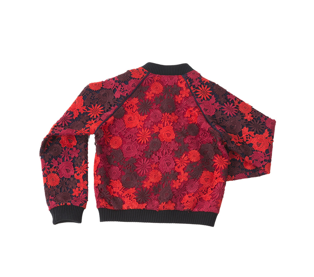 SONIA H red lace bomber jacket, floral lace, red