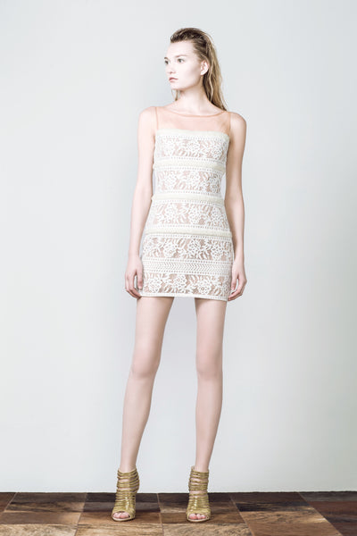 Silhouetted White Lace Dress with Pearl Embellishment