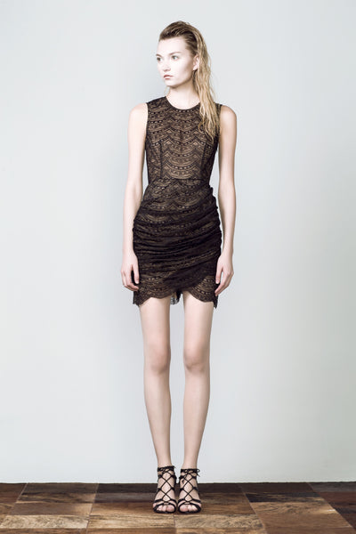 Scallop Lace Wrapped Skirt Dress