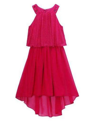 FUCHSIA HIGH LOW DRESS WITH JEWEL ACCENTS