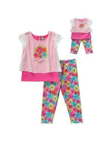 FAB FLOWERS LEGGING SET WITH MATCHING DOLL OUTFIT
