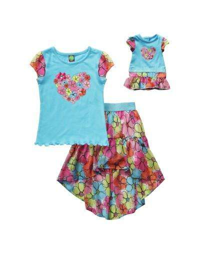 COLORFUL DAISIES HI-LOW SKIRT SET WITH MATCHING DOLL OUTFIT